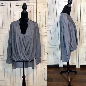 BCBG Maxazria, Faux Wrap, Metallic Striped Shirt